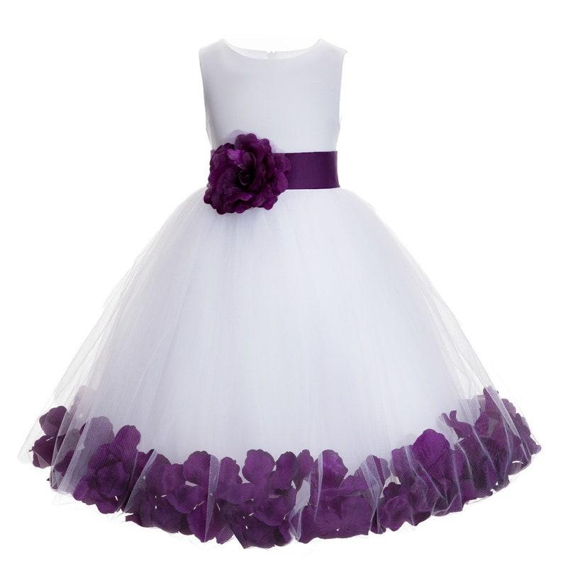 e21115aaff8 Ivory Floral Petals Design Flower girl dress Wedding Junior