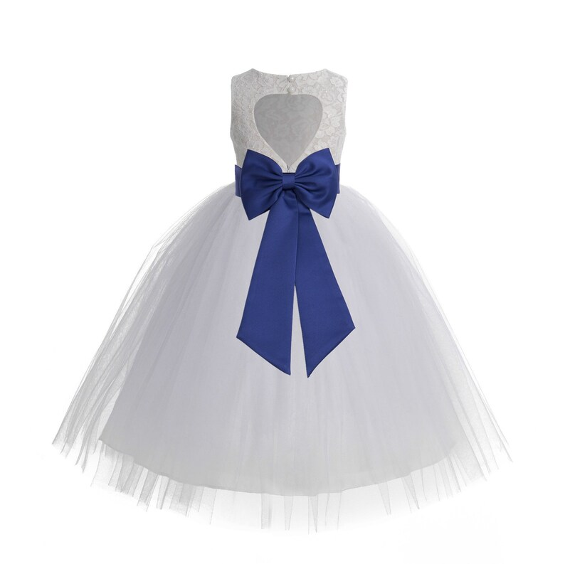 6c0db657d57 Heart Cutout White Lace Flower Girl Dress Girls Tulle