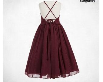 Chiffon Flower Girl Dress, Chiffon Dresses, Lace up Dress, Summer Dress, Girls Daily Dress, Junior Flower Girl Dresses, Graduation Dresses