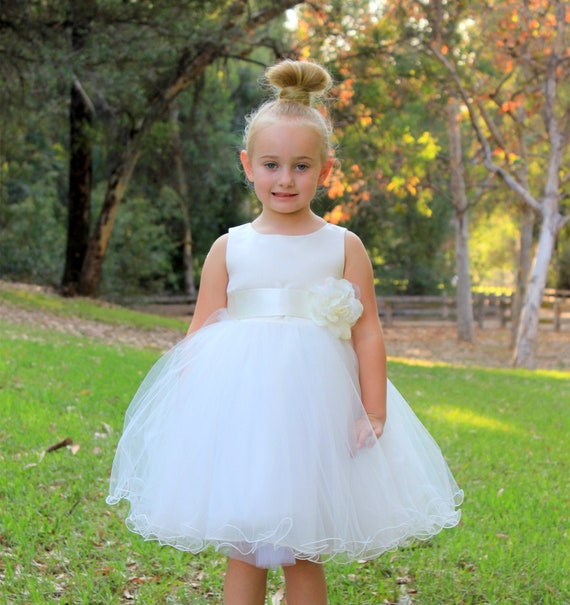 White Flower Girl Dress Purple Black Fuchsia Pink Turquoise Blue Apple Red Burgundy Clover Green Peach Navy Blue Brown Champagne Yellow New