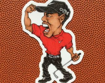 Sunday Tiger Woods Die Cut Vinyl Sticker