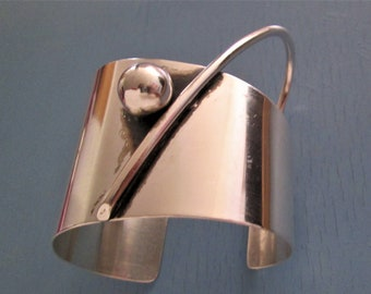 Modernist Sterling Silver Bracelet by designer Otto Robert Bade 70s Orb Sterling