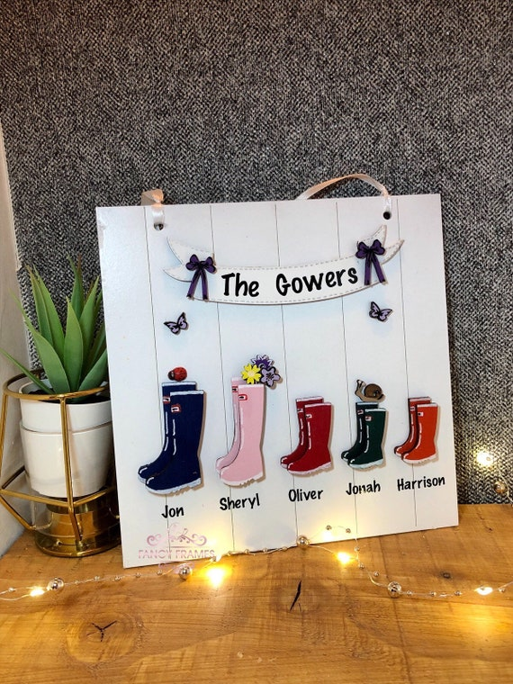 Personalised Family Names Welly Boot Plaque Sign Wooden  Handmade Gift Home