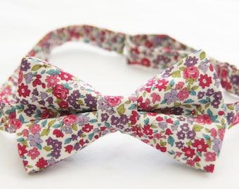 Pink/Purple floral bowtie