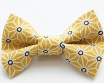 Barrette noeud motifs géométrique jaune