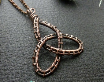 Copper wire wrap celtic jewelry Unique Birthday gift for Mom Her friend Tiger eye triquetra star necklace Double sided Reversible pendant