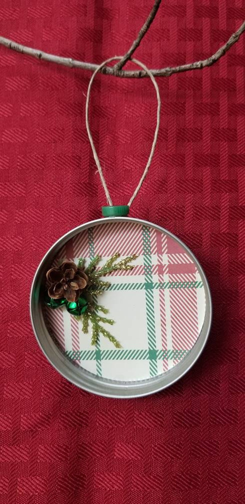 Mason Jar Lid Holiday Ornament with Real NH Hemlock Pinecone and Glittered Branch and Bell Accents