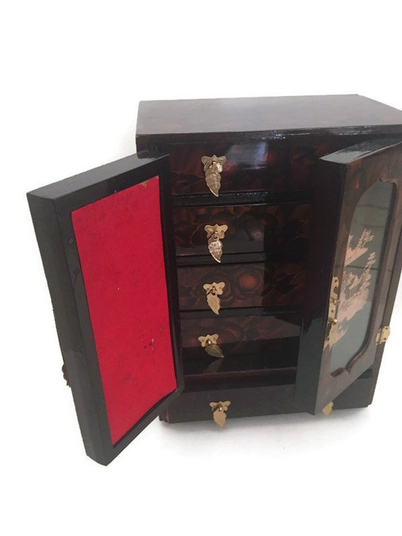 Large vintage mid century hand made black lacquer wooden jewelry box
