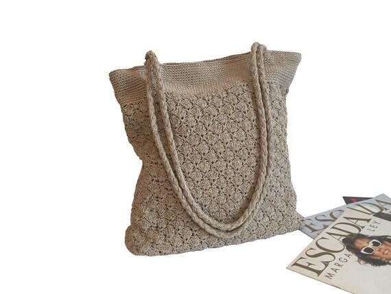 Handmade Crochet bag, beige ote bag, Beige summer
