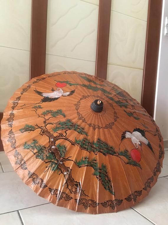 Hand-painted Parasol, bamboo umbrella, Vintage Jap