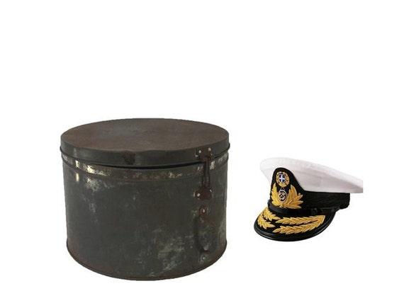 Vintage Nautical Military Tin Hat Box, Vintage Gre
