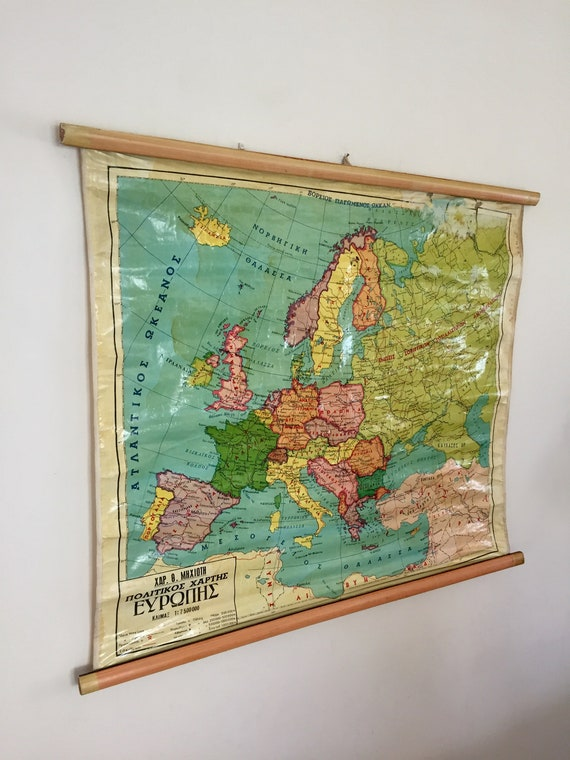 Vintage Europe Pull down Map, Double sided pull down map, Rare Map,  Geography School Map, Vintage Europe Map, Pull down Chart, Classroom Map