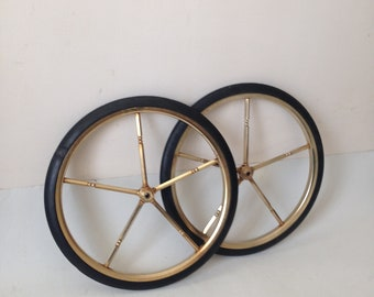 Casters with rubber wheel Brass, Brass casters, Vintage Caster Wheels, Trolley Bar Casters, Vintage bar casters, Industrial Casters.