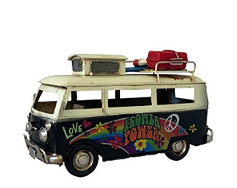 "Old time Classic Black  Hippie Van Collectible, Replica 60's Camper Van, 10"" Microbus, Vintage Hippie bus."