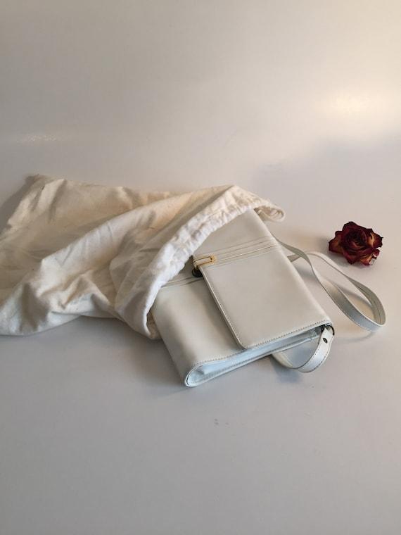 Vintage white Crossbody Bag, white Leather Crossbo