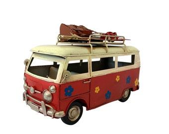 """Red Classic Hippie Van Collectible, Replica 60's Camper Van, 10"""" Microbus, Vintage Hippie bus."""