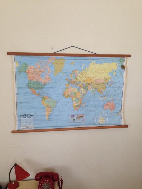 Classroom Pull Down World Map.Vintage World Atlas Map Classroom Map School Chart School Etsy