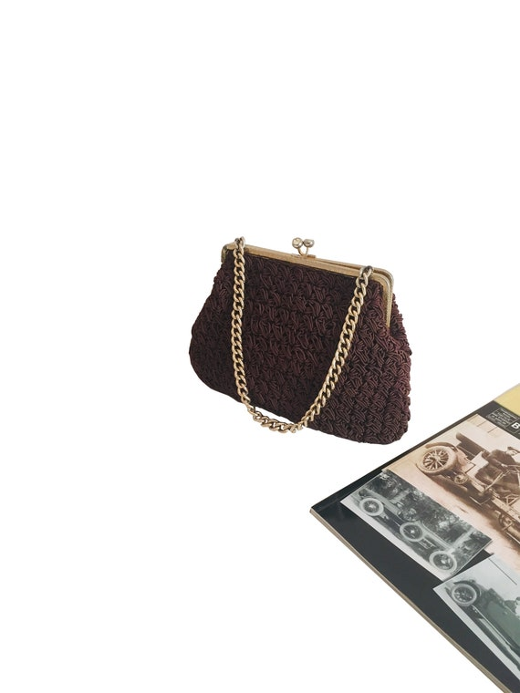 Handmade Crochet bag, 70s shoulder bag with metal