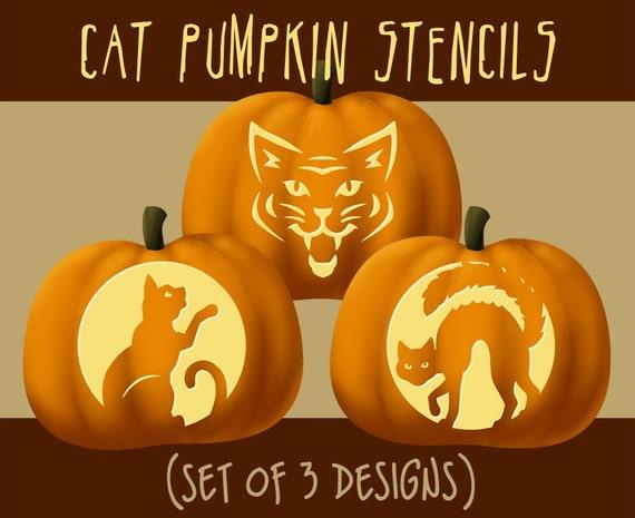 Digital Kitty Cat Pumpkin Stencils Halloween Jack-o-lantern