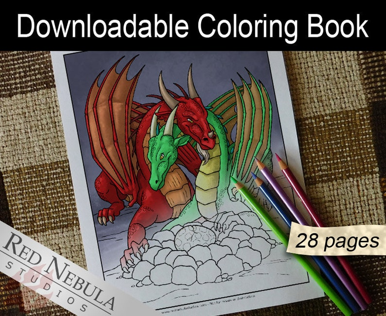 Downloadable Dragon Coloring Book 28 Pages  A Cute Family image 0