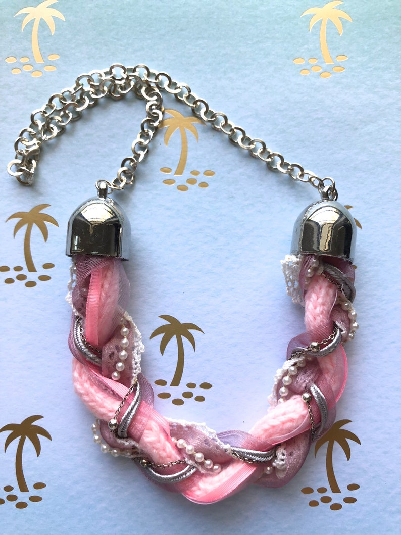 Braided Upcycled Statement Necklace  Baby Pink  Braided Fabric Ribbon Beaded Chain
