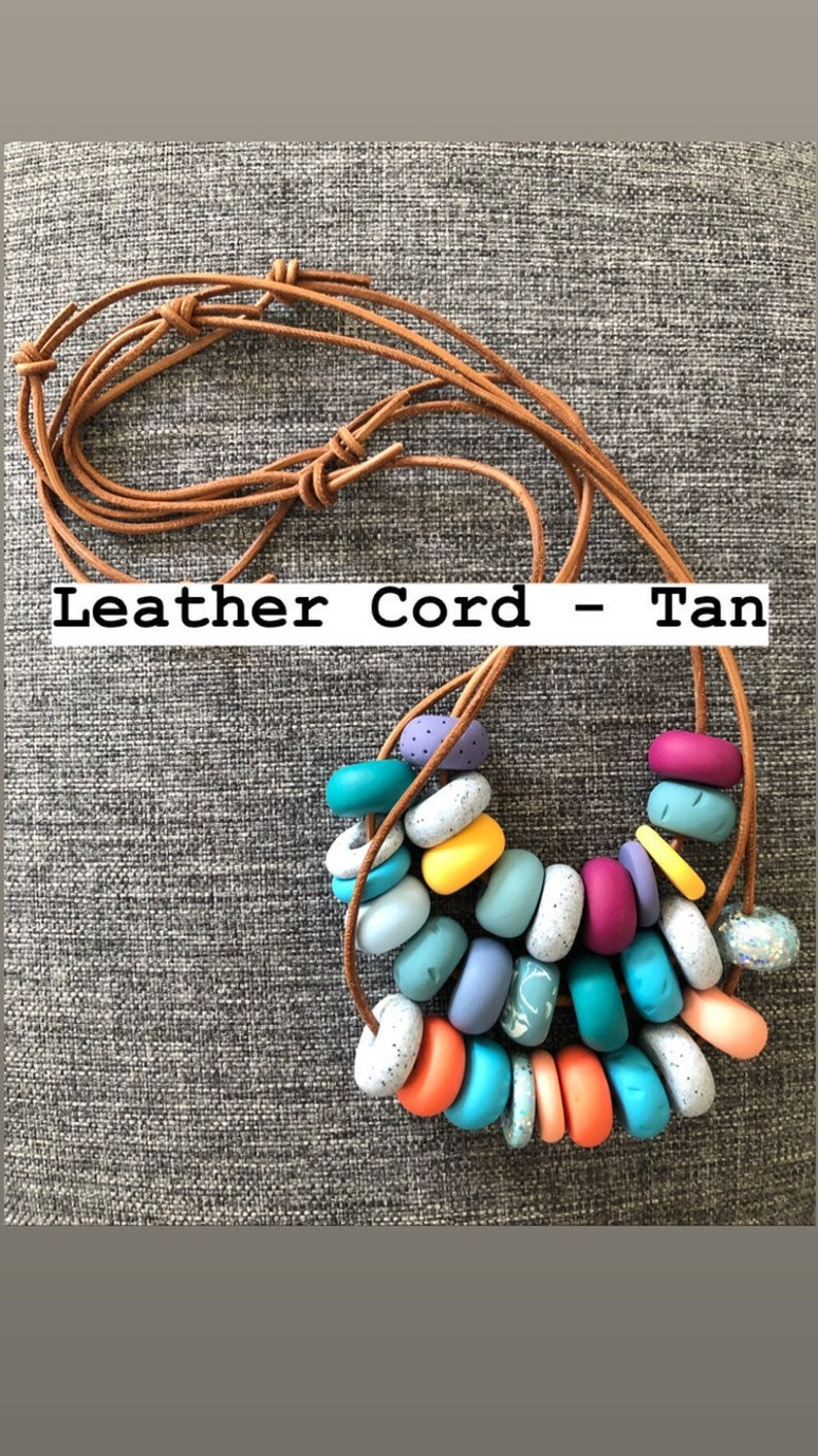 Adjustable Length Leather Cord Pearl Blue  Beads Handmade Polymer Clay Bead Necklace  Block Colours  Grey Teal