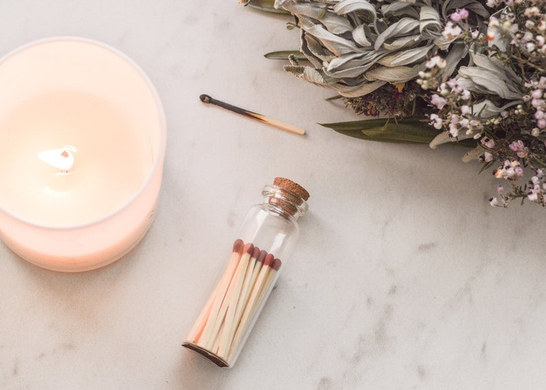 evergreen # candle Match jar w matches Scarlet red or white tip Safety matches made w wood from responsibly managed forests striker