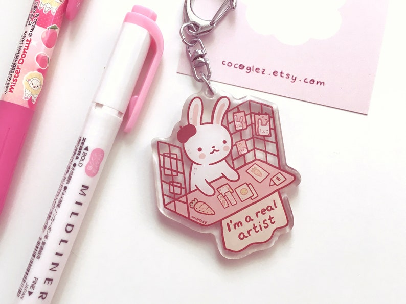 You Are A Real Artist   Bunny Epoxy Kawaii Cute Keychain by Etsy