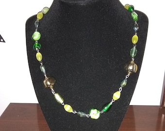 Green and Gold Beaded Necklace made with Glass and Plastic Beads