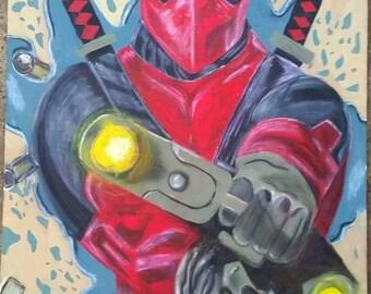 Hand painted on wood deadpool wall art