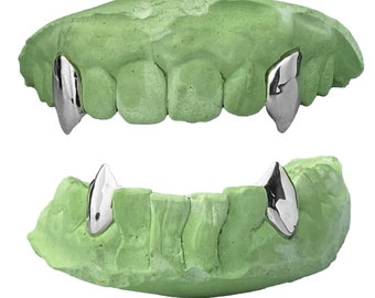 925 Sterling Silver Custom Fang Grillz Set 2 Single Cap Two Vampire Canine Teeth with or without Hidden Connecting Back Bar Bridge