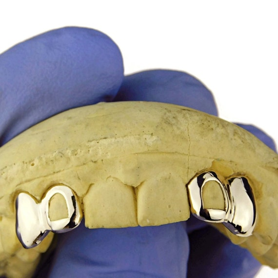 Open Face Double Tooth Grillz 14k Gold Plated Top Two Left Canine Teeth Caps