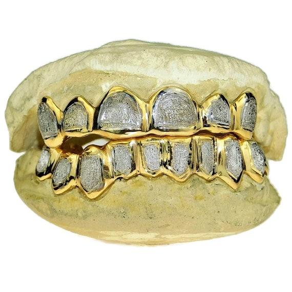 Freeze Design Diamond Dust Trillion Cut Two Tone Custom Genuine Gold Grillz Top or Bottom Set  Gold Teeth 8k 14k or Yellow Silver 10k