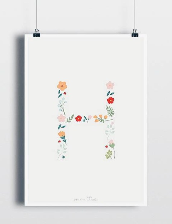 Letter Posters Kinderzimmerdeko Print Poster Kidsprint Art Print Flowers Alphabet
