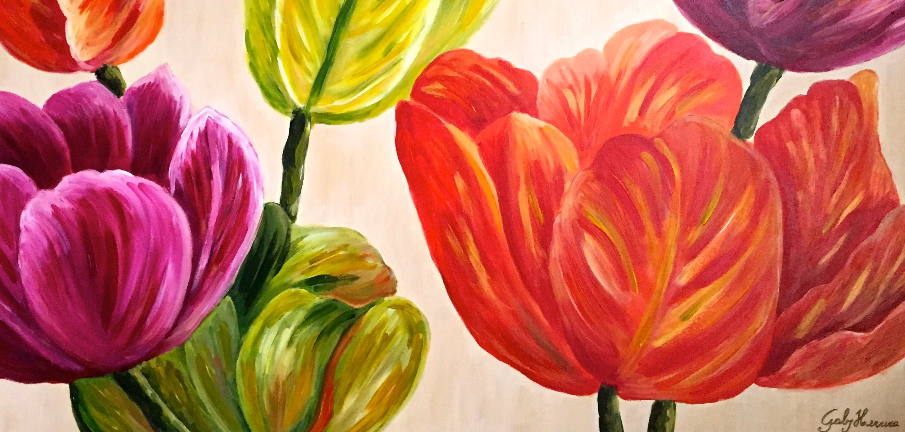 Spring bloom 24 x 48 fine art print spring flowers canvas etsy zoom mightylinksfo