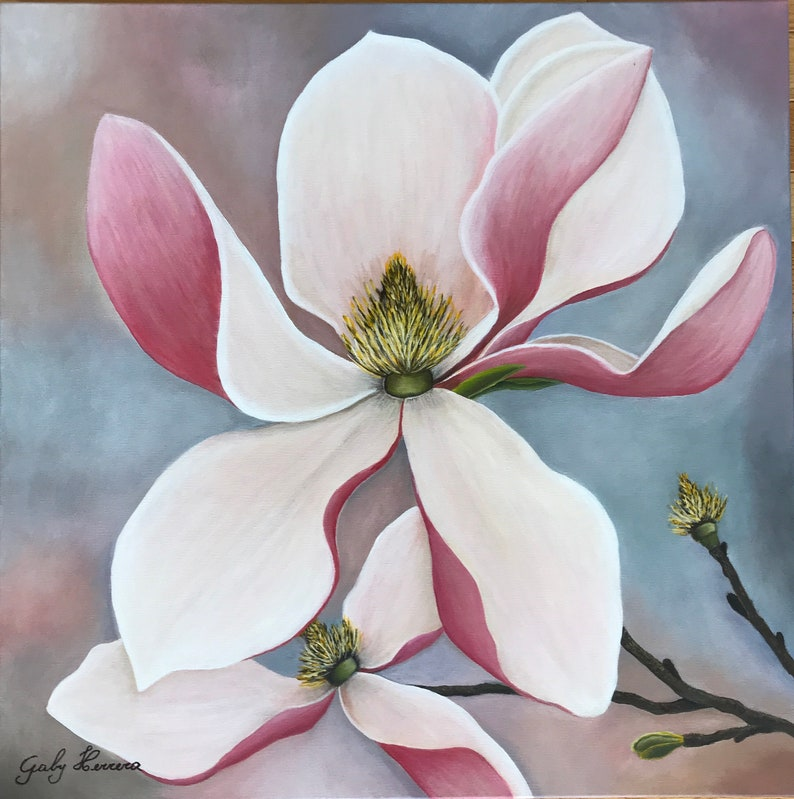 Magnolia Painting 24x24 Print Southern Flower Magnolia Etsy