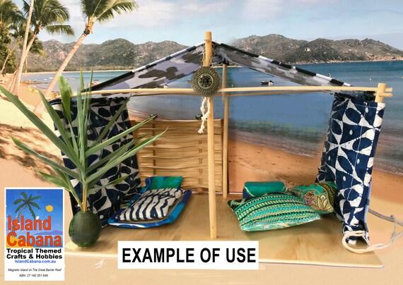 miniature Beach Boho vintage tent;tropical beach dollhouse accessory