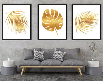 Gold Tropical Leaves, Gold Foil Palm Leaves, Gold Prints, Palm Leaves  Prints, Living Room Wall Art, Palm Leaves Decor, Instant Download