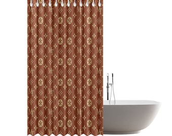 Louis Vuitton Inspiration Brown Pattern Customize Your Own Shower Curtain 72 X 84 Home Bathroom Decoration