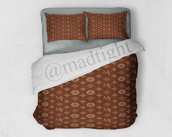 Lv Fashion Inspiration Pattern Brown Bedding Set Duvet Cover And Pillow Sham Bedroom Decoration Home Decor Gift For Her Or Him