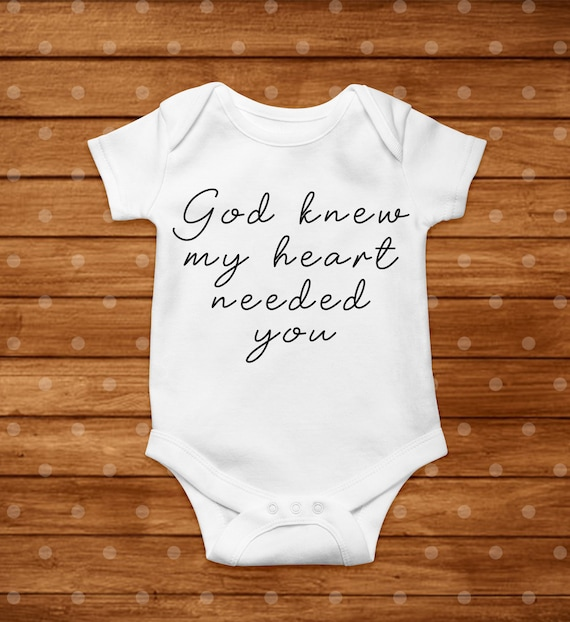 Baby Shower Gift Pregnancy Announcement Bodysuit God Knew Our Hearts Needed You