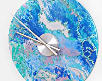 Marbled Resin Wall Clock with Turquoise Stones
