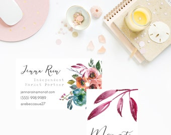 Spring Floral MONAT business cards, monat customized business card, marketing