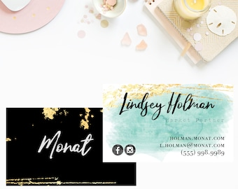 Teal and Gold MONAT business cards, monat customized business card, marketing