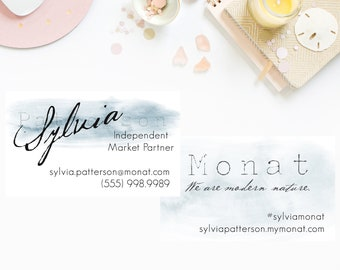 Stormy Watercolor MONAT business cards, monat customized business card, marketing