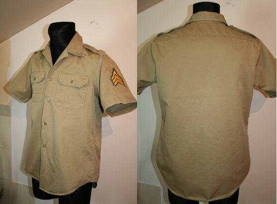 Army Shirt, U.S.A. Vintage Army Khaki Short-Sleev… - image 1