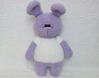knitted Bunny handmade toys toys made of plush blue Bunny plush Bunnyknitted Bunny in a white jacket  knitted toy plush toy knitting
