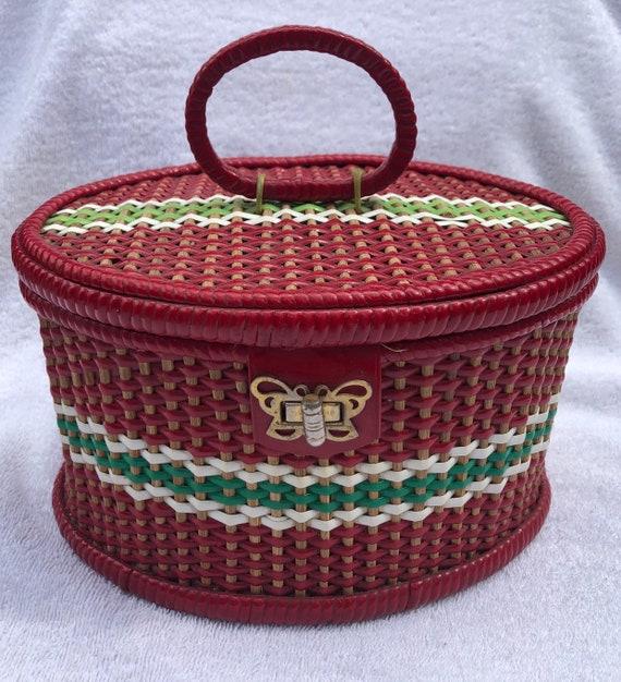 Stunning 1940's Vintage Red Woven Wicker Basket Bo