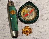 Girl Scout LOT-Pocket Knife circa 1950s, Compass Circa Early 1960s ,Original Girl Scout Pin Collectible, Useable, Girl Scout Memorabilia