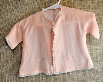 Vintage Baby Dressing jacket Hand Embroidered Satin Fabric Fully Lined with  Shari Steckler Tag 1950 s - 60 s 2a38ebff7